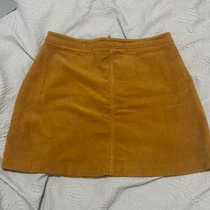 Yellow/mustard corduroy mini skirt